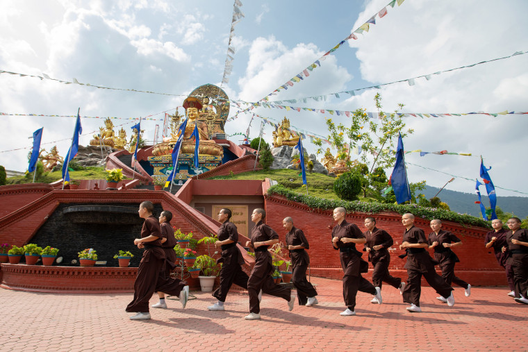 """Each Kung Fu session begins and ends with running laps around the temple and highest-most point of the Monastery. The technical skill is regarded as less important than the physical conditioning, with little individual meaning given to the snapping of fans and waving of swords. Though initially excited, the nuns knew it would be difficult. \""""We felt ourselves become strong, physically and mentally,\"""" explained Jigme Tsering Chorol, who has been training since Kung Fu was introduced. \""""And we asked ourselves why other girls couldn't be taught the same.\"""""""