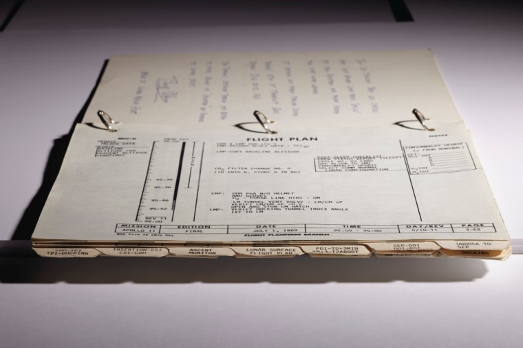 "The ""Timeline Book"" used by Apollo 11 astronauts."
