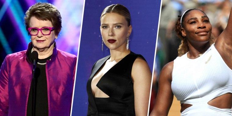 Billie Jean King, Scarlett Johansson and Serena Williams.