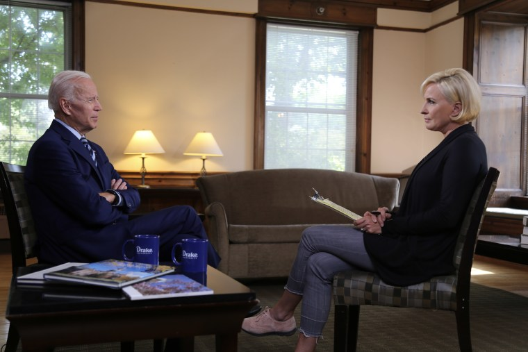 "Mika Brzezinski talks to former Vice President Joe Biden in an interview that ran on ""Morning Joe"" on Tuesday."