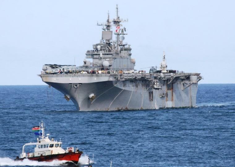 The Wasp class amphibious assault ship USS Boxer