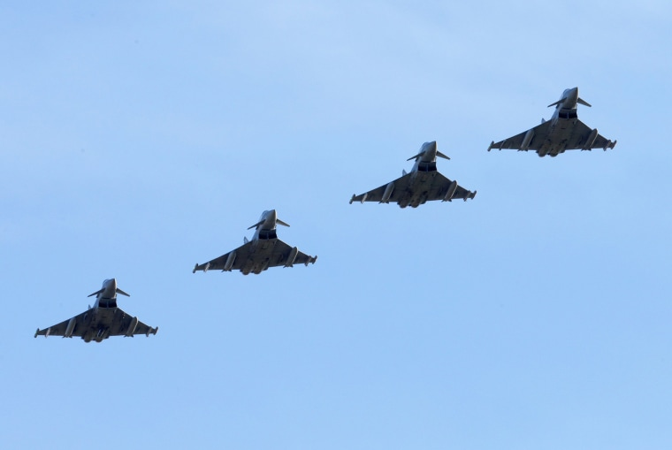 Image: A display of Typhoon Aircraft at RAF Coningsby.