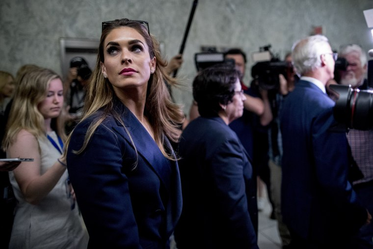 Image: Former White House communications director Hope Hicks leaves following a closed-door interview with the House Judiciary Committee on Capitol Hill