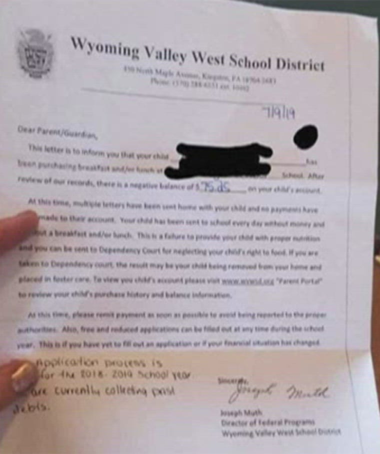 A letter from the Luzerne County school district demanded parents pay delinquent lunch bills for their children or face the risk of having their children placed in foster care.