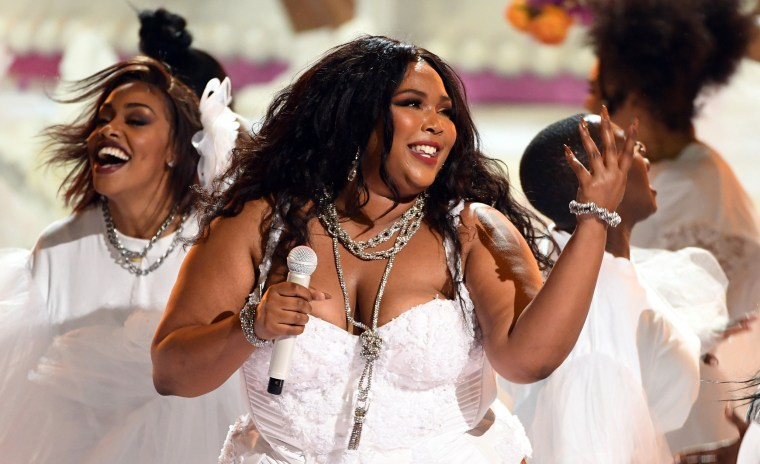 Lizzo performs at the BET Awards in Los Angeles