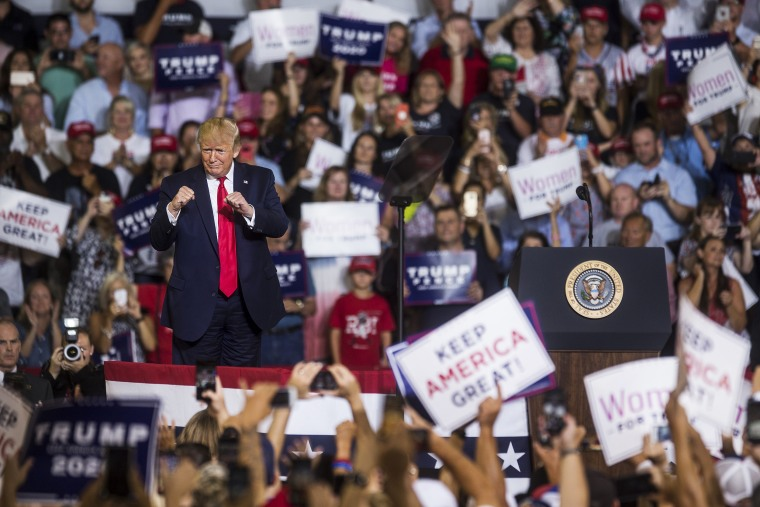 President Donald Trump takes the podium before speaking during a Keep America Great rally