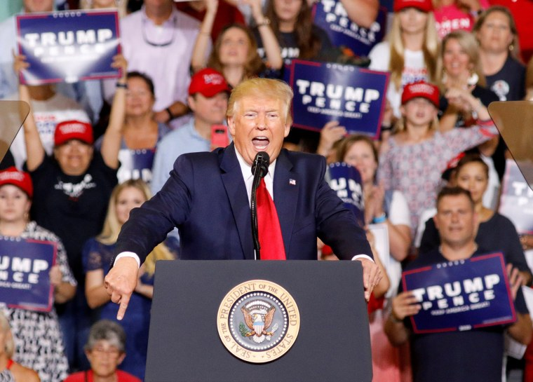 President Donald Trump speaks at a rally in Greenville, North Carolina