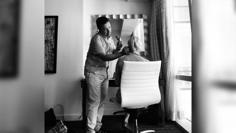 Wilbert Ramos does Mika Brzezinski's hair and makeup.