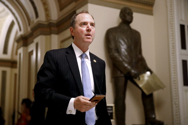 Image: Rep. Adam Schiff, D-Calif., walks out of the House Chamber on July 16, 2019.