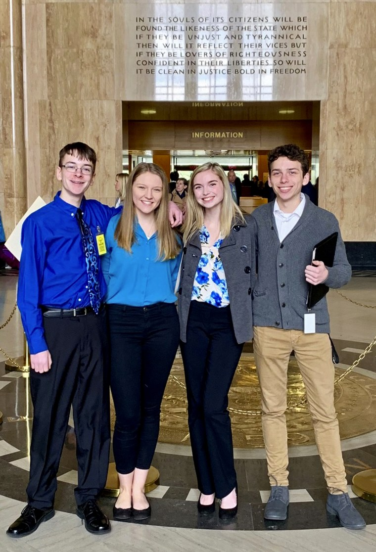 "Image: Sam Adamson, Lori Riddle, Hailey Hardcastle and Derek Evans at the Oregon State Capitol in Salem on Feb. 6, 2019. The teens introduced legislation to allow students to take ""mental health days"" as they would sick days in an attempt to respond to a"