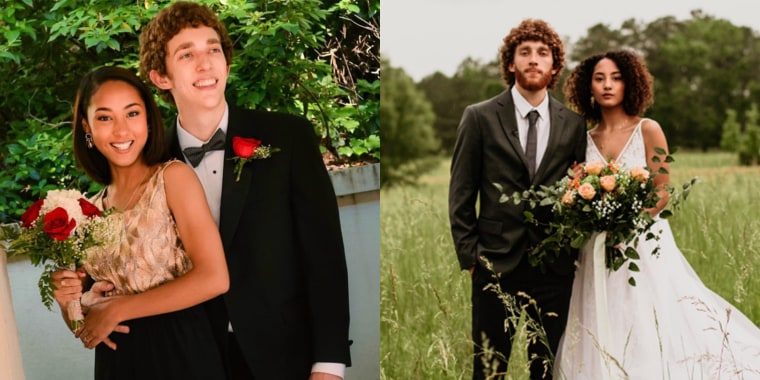 Couples are posting adorable throwback photos comparing themselves on prom and their wedding day.