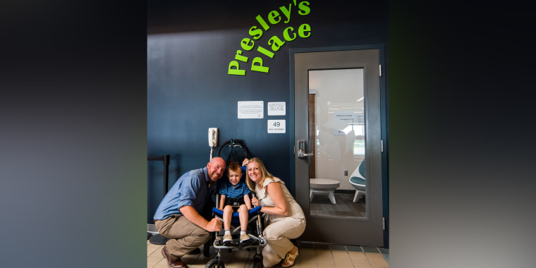 "Presley Rudge, age 4, with his parents Jason and Sharon. Jason works for Pittsburgh International Airport and pitched his idea for a ""sensory room"" for travelers with autism to the airport CEO."