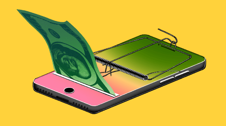 Illustration of phone with a mouse trap on it, dispensing money.