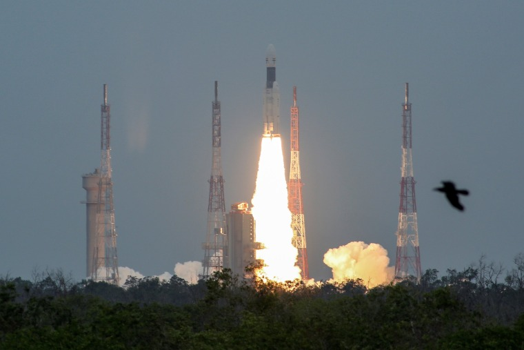 Image: India's Geosynchronous Satellite Launch Vehicle Mk III blasts off carrying Chandrayaan-2, from the Satish Dhawan space centre at Sriharikota