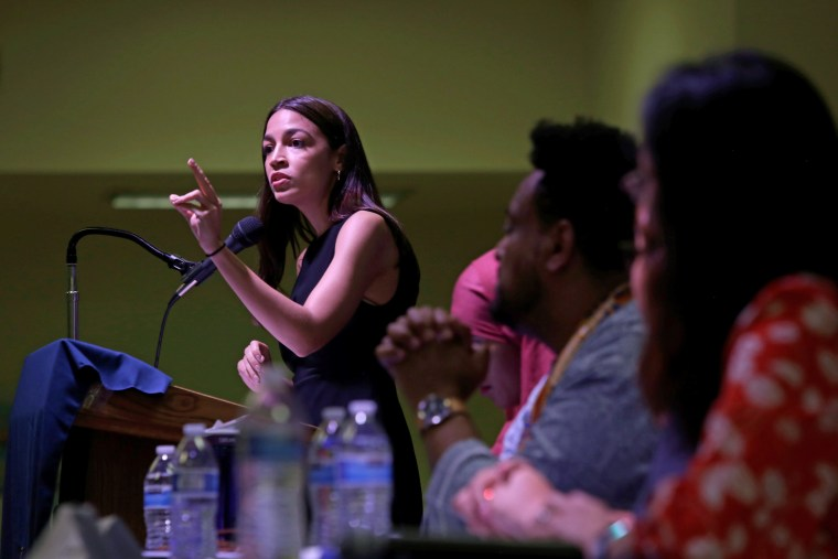 Image: Representative Alexandria Ocasio-Cortez speaks during an Immigration Town Hall at The Nancy DeBenedittis Public School in Queens