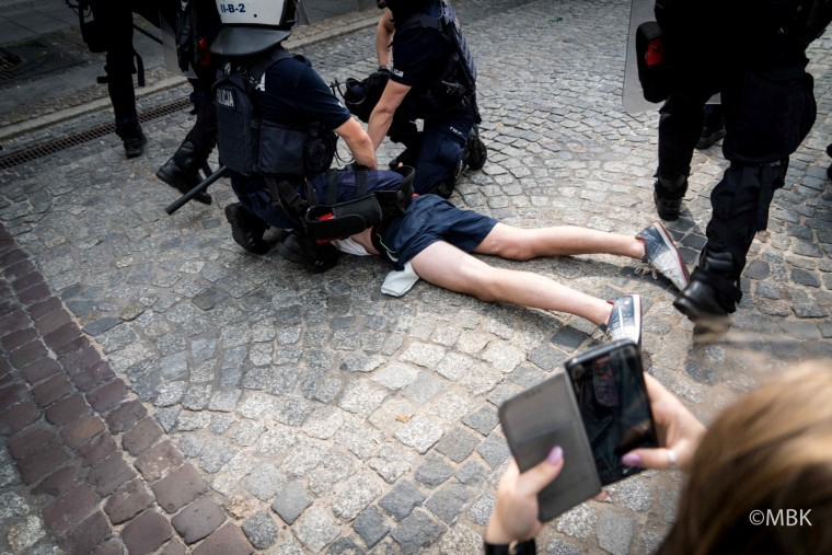 Image: Police detain a protester during a demonstration against a Pride Parade in Bialystok, Poland, on July 20, 2019.