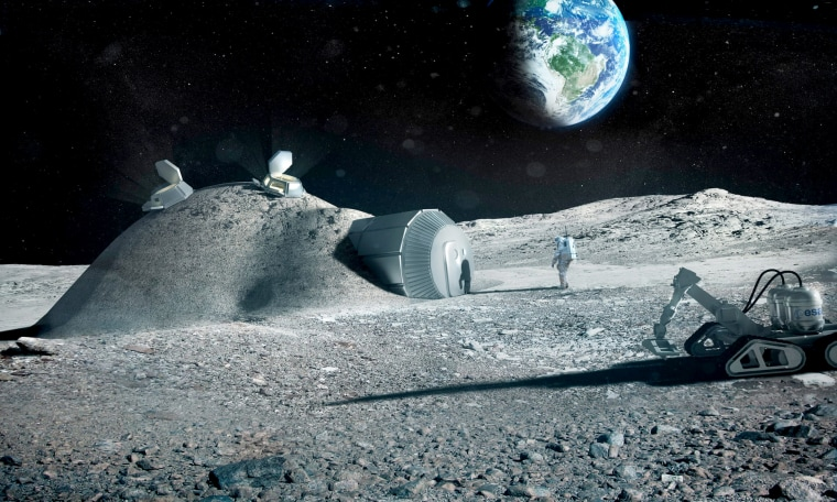 Image: A rendering of a moon village developed by the European Space Agency.