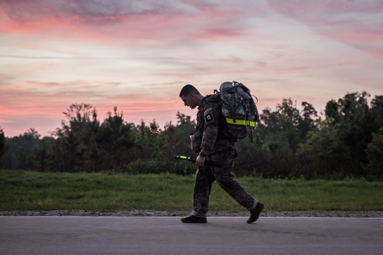An Army Ranger trainee completes a 12-mile march at Fort Benning in Georgia while wearing heat sensors under his uniform to measure his core temperature and heart rate.