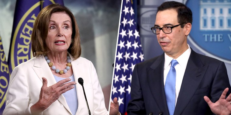 Speaker of the House Nancy Pelosi, D-Calif., and Treasury Secretary Steven Mnuchin.