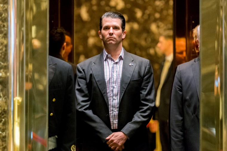 Image: Donald Trump Jr. stands in an elevator at Trump Tower in New York on Jan. 18, 2017.