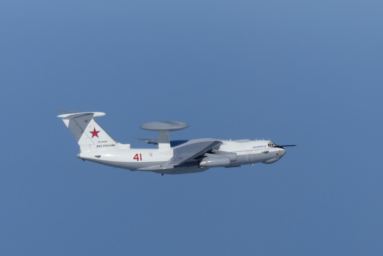 Russian A-50 military aircraft flies near the disputed islands called Takeshima in Japan and Dokdo in South Korea