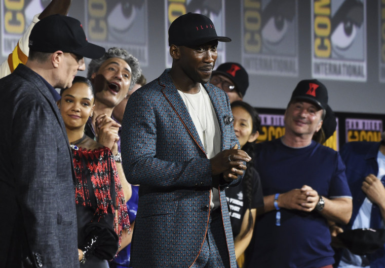"Image: Mahershala Ali promotes the new Marvel film ""Blade"" at Comic-Con International in San Diego on July 20, 2019."