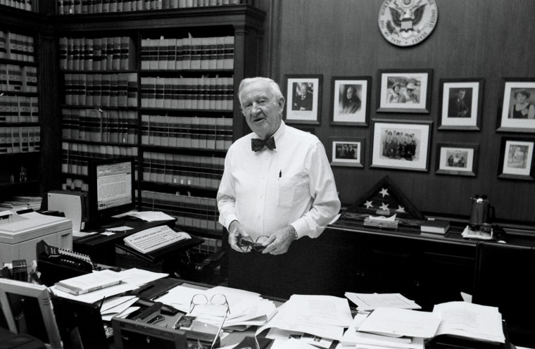Image: Justice John Paul Stevens in his chambers at the Supreme Court in 2002.
