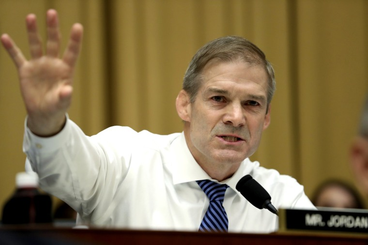 Image: Rep. Jim Jordan, R-Ohio, questions Robert Mueller during his testimony to Congress on July 24, 2019.