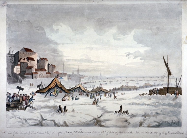 "A painting of ""frost fair"" on the frozen River Thames in London in 1814 during the Little Ice Age."