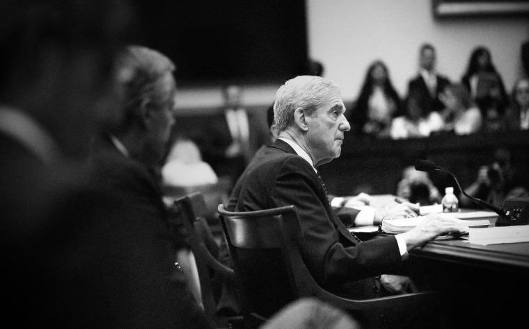 Image: Robert Mueller, former special counsel for the Department of Justice, listens during a House Judiciary Committee hearing in Washington on July 24, 2019.