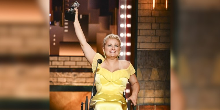 "Ali Stroker accepts the award for best performance by an actress in a featured role in a musical for ""Rodgers & Hammerstein's Oklahoma!""at the 73rd annual Tony Awards at Radio City Music Hall on June 9, 2019, in New York."