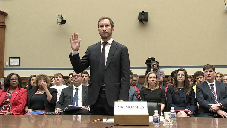 """James Monsees, co-founder of Juul Labs, stands to be sworn in during the House Committee on Oversight and Reform's hearing \""""Examining JUUL's Role in the Youth Nicotine Epidemic\"""" on Capitol Hill on July 25, 2019."""