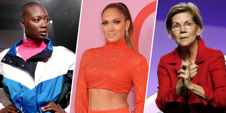 Mama Cax, Jennifer Lopez and Sen. Elizabeth Warren (D-MA).