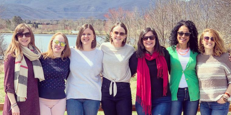 From left to right: Ceri Richards, Jenn Folsom, Jessica Higdon, Sarah Drake, Sara Mulhern , Ofa McGinley and Carrie van Brocklin.