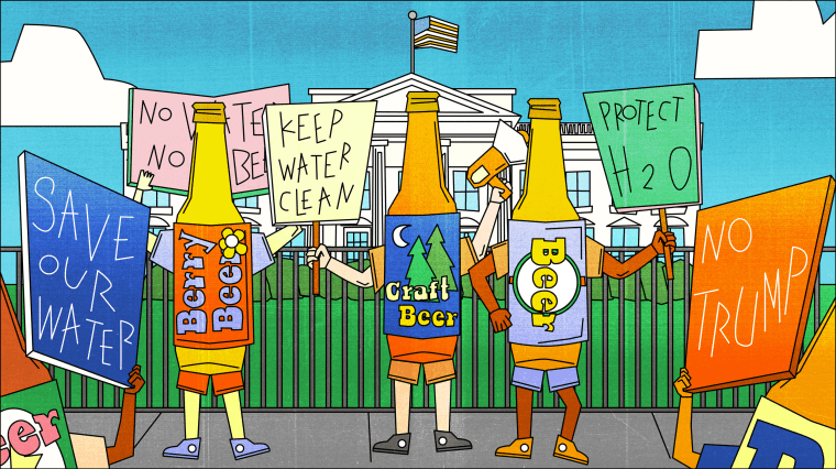 Illustration of craft beer bottle protesting for clean water in front of the White House.