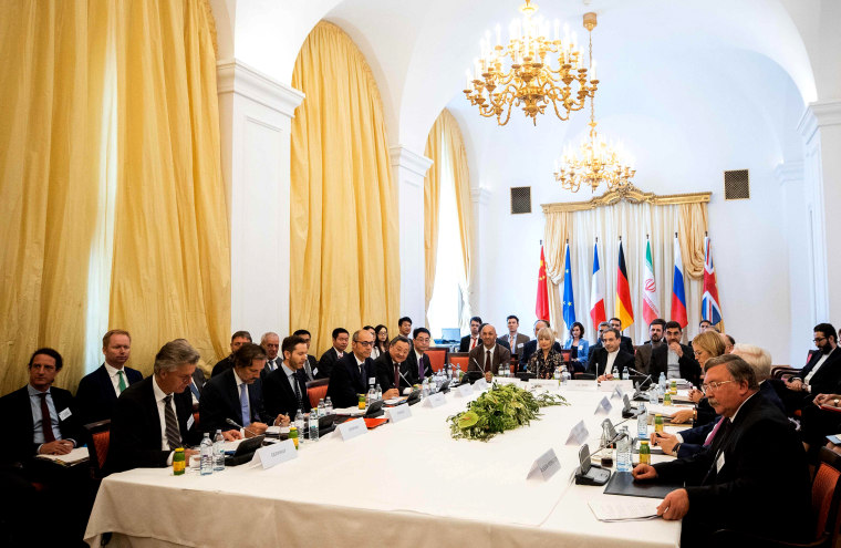 Image: Delegations meet to discuss an international nuclear agreement with Iran at the Palais Coburg in Vienna on July 28, 2019.