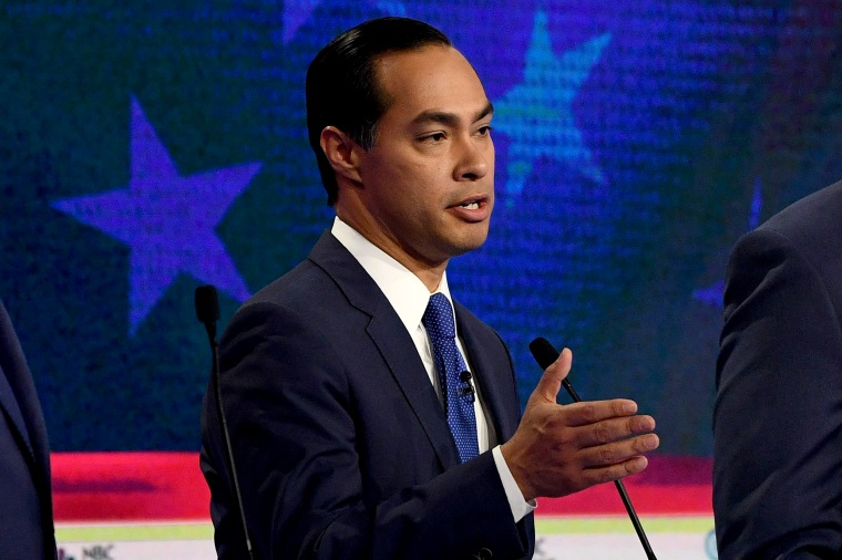 Image: Julian Castro speaks during the first night of the Democratic presidential debate in Miami, Florida, on June 26, 2019.