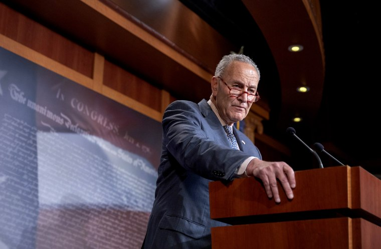 Image: Senate Minority Leader Chuck Schumer during a press conference in Washington on June 18, 2019.