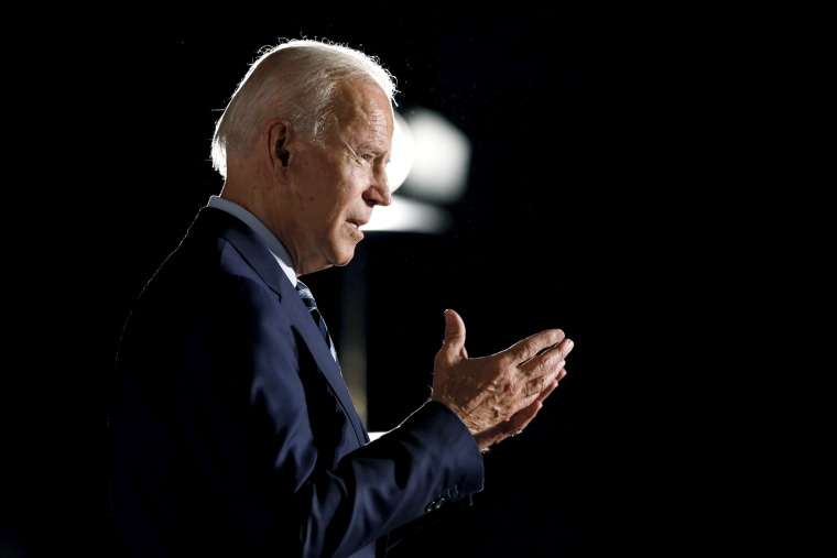 Image: Former Vice President Joe Biden speaks during a presidential candidates forum in Des Moines, Iowa, on July 15, 2019.