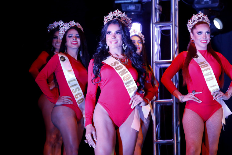 Image: Contestants compete during the swimsuit category of the Miss Transgender Beauty Pageant in Mexico City on July 27, 2019.