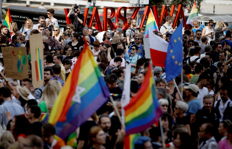 Image: Protesters attend a march against violence that took place at an LGBT pride march in July in Bialystok, Poland, on July 27, 2019.