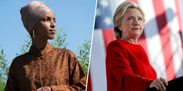 Rep. Ilhan Omar, D-Minn., and former U.S. Secretary of State and 2016 Democratic presidential nominee Hillary Clinton.