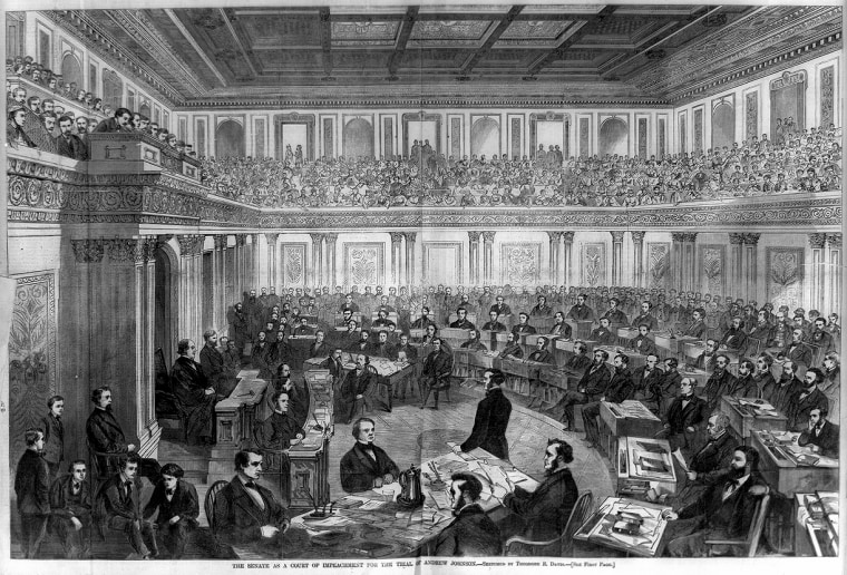 The Senate as a court of impeachment for the trial of Andrew Johnson, which began in April 1868.