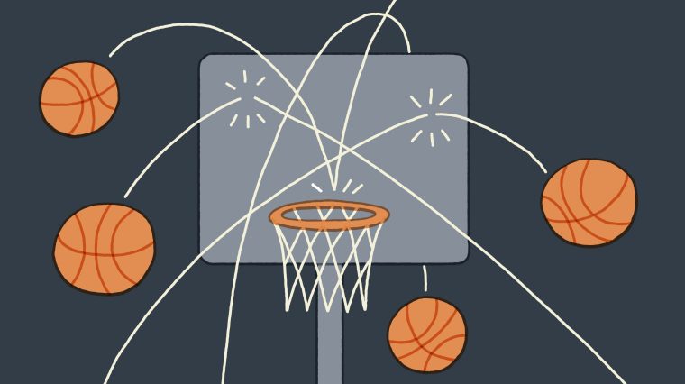 Illustration of basketballs missing a basketball hoop.