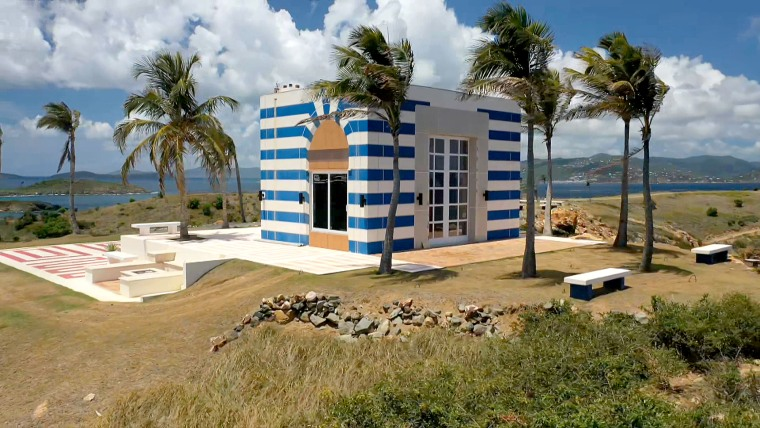 A small building on the opposite end of the Caribbean island estate of Jeffrey Epstein on Little St. James.