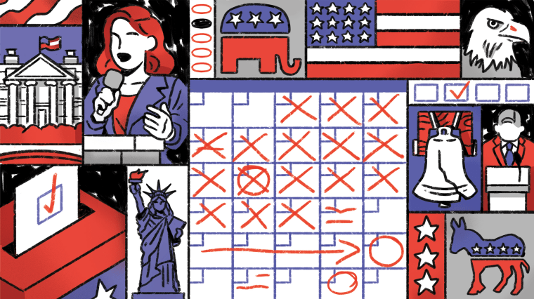 Illustration of a calendar with different political motifs in the panels surrounding it.