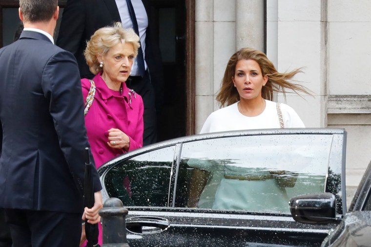 Image: Princess Haya, right, accompanied by her lawyer lawyer Fiona Shackleton, leaves the High Court in London
