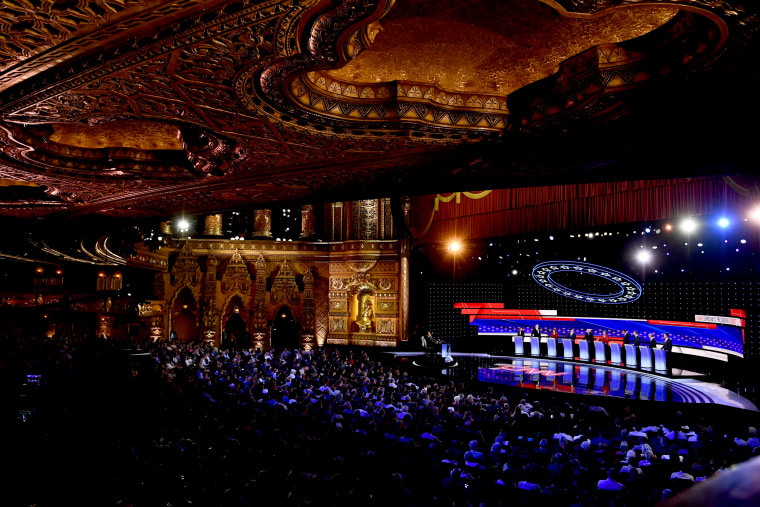 Image: Democratic presidential candidates take the stage for a debate hosted by CNN at the Fox Theatre in Detroit on July 30, 2019.
