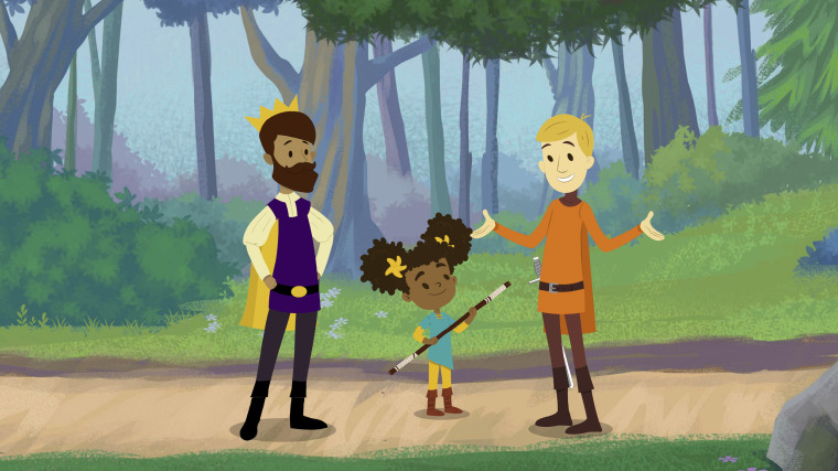 "Image: Prince Andrew, Nia, and Sir Cedric in a scene from the children's series ""The Bravest Knight."""