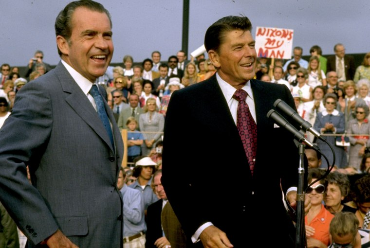 Image: Richard Nixon and Ronald Reagan campaign in 1972.